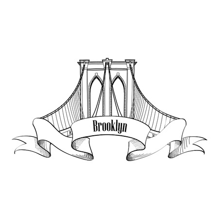 new york city panorama: New York Brooklyn Bridge Symbol Illustration