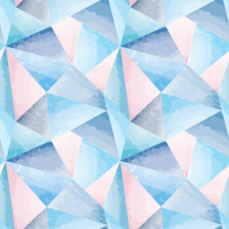 Abstract seamless pattern. Geometric triangle mosaic watercolor 3D background. Vector