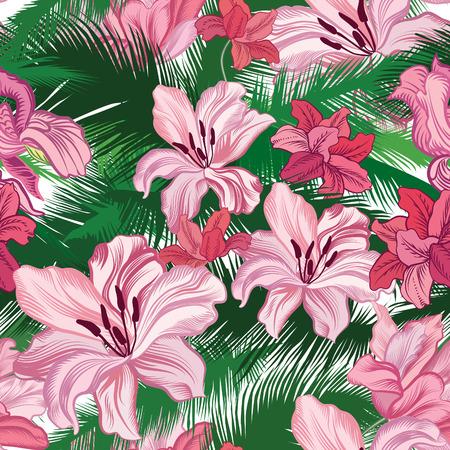 Bloemen naadloos patroon. Tropische bloemen. Jungle stijl achtergrond.