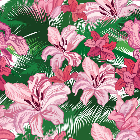tree peony: Floral seamless pattern. Tropical fowers. Jungle style background.