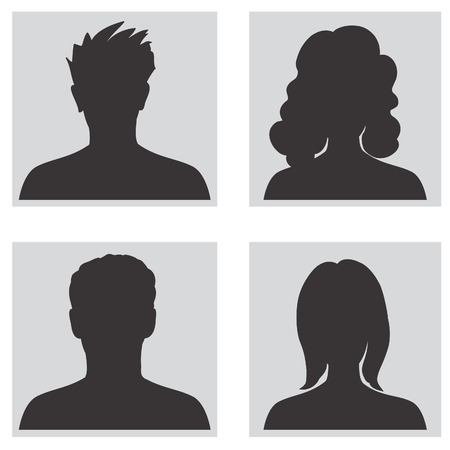 Avatar collection, People profile silhouettes 矢量图像