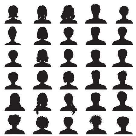 cabeza de mujer: Avatar colección, perfil de las personas siluetas
