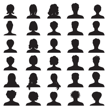 male female: Avatar collection, People profile silhouettes Illustration