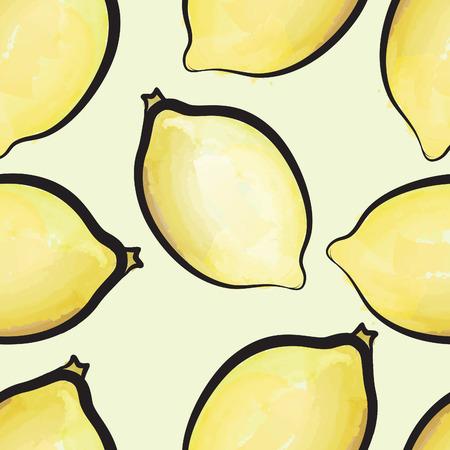 plante tropicale: Lemon aquarelle pattern. Juicy Fruits de carrelage. Exotique fond plante tropicale