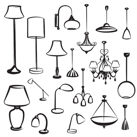 ceiling: Lamp furniture silhouettes set. Ceiling light design collection.