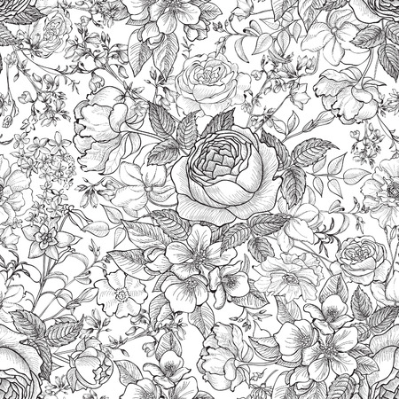 花のシームレスなパターン。花の背景。花とシームレスなテクスチャの頭角を現します。