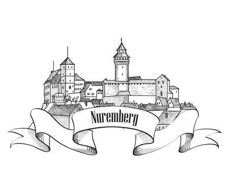 in german: Nurnberg. City symbol. Old Nuremberg. Travel Germany label.