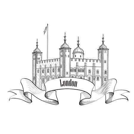 london england: Tower of London famous building London England UK. London symbol vintage sketch label isolated.