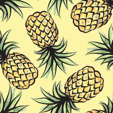 palm tree fruit: Pieappler seamless tropical pattern. Jungle textured background