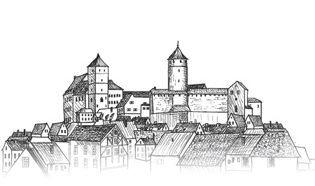 Old city view. Medieval european castle landscape. Pensil drawn vector sketch Illustration
