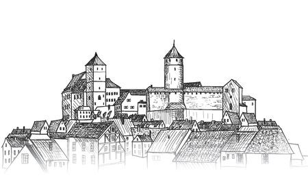 Old city view. Medieval european castle landscape. Pensil drawn vector sketch Vettoriali