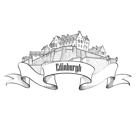 edinburgh: Edinburgh Castle in Schotland geïsoleerd. Gravure schets tarvel Verenigd Koninkrijk. UK label. Oude gegraveerde vector illustratie van Edinburgh Castle.