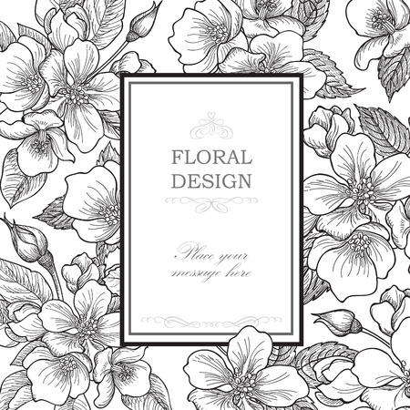 flower borders: Floral background. Flower bouquet vintage cover. Flourish card with copy space. Gentle spring apple tree blooming flowers greeting card. Illustration