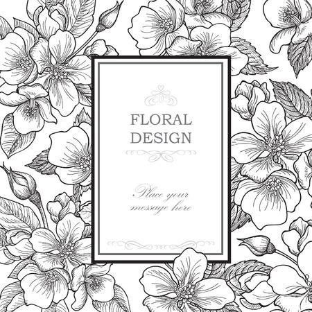 borde de flores: Fondo floral. Ramo de la flor cubierta de la vendimia. Flourish tarjeta con copia espacio. Suave manzano primavera florece la tarjeta de felicitación flores.