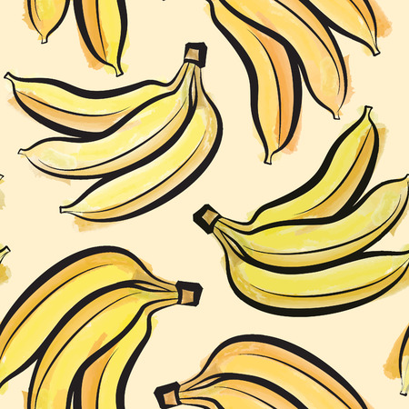 Banana watercolor seamless pattern. Juicy fruits tiling. Exotic tropical plant background