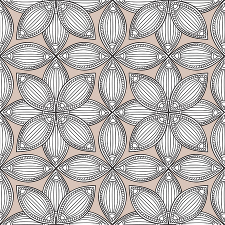 fills: Abstract floral retro seamless pattern. Endless texture for wallpaper, pattern fills, web page background,surface textures. Monochrome geometric tiling ornament. Illustration