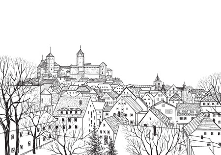 black and white line drawing: Old city view. Medieval european castle landscape. Pensil drawn vector sketch Illustration