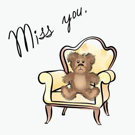 miss: We miss you card Illustration
