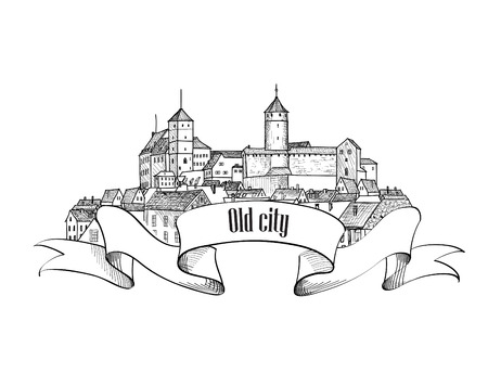popular tale: Old city label isolated. Downtown view. Medieval european castle landscape. Pensil drawn vector sketch
