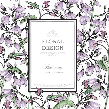 vector greeting card: Gentle spring watercolor greeting card with Blooming flowers. Floral background with place for text.  Vector Illustration