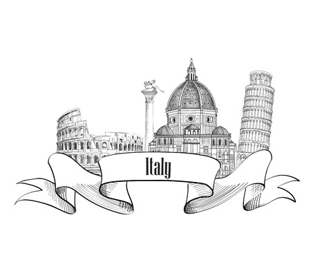 Italy architectural symbols. Trave Italy label. Italy skyline. Çizim