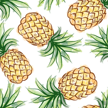 ananas: Pineapple watercolor seamless pattern. Juicy fruits tiling. Exotic tropical plant background