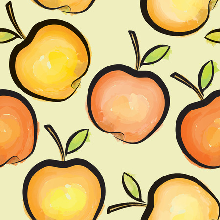 juicy: Apple watercolor seamless pattern. Juicy fruits tiled background
