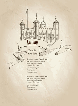london england: London symbol vintage background with copy space. Tower of London famous building London England UK. Illustration