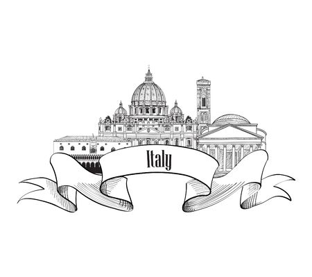 Italy architectural symbol. Trave Italy label. Italy skyline.