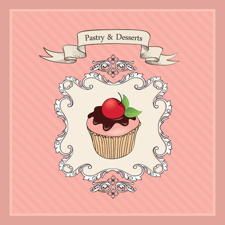 cakes background: Vintage Cakes Background.  Bakery Retro Label. Sweets and Desserts Menu. Vector Poster.