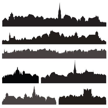 市シルエットベクターは、ベク セット。分離されたヨーロッパの街並み。スカイライン セット。建物のシルエット コレクション。