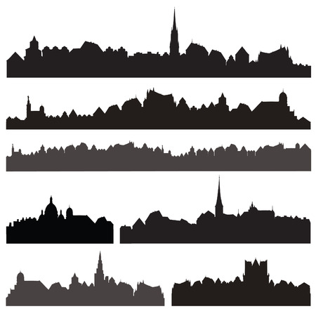 Stad silhouett ingesteld. Europese stadsgezicht geïsoleerd. Skyline set. Gebouwen silhouet collectie. Stock Illustratie