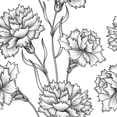 carnations: Floral seamless pattern. Flower background. Floral seamless texture with flowers.