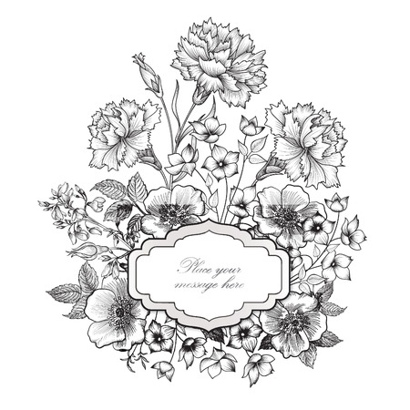 vintage floral frame: Floral frame background. Flower bouquet border. Floral vintage cover. Flourish card with copy space.
