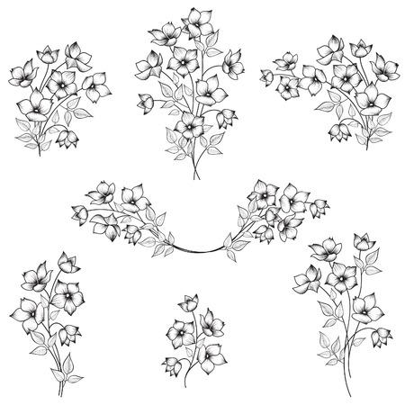 borde de flores: Elementos de decoración Flores de marco. Ramo de la flor de la decoración para el marco. Conjunto abstracto floral de la frontera. Colección ramillete floral.