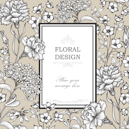 Floral background. Flower bouquet border. Floral vintage cover. Flourish card with copy space.