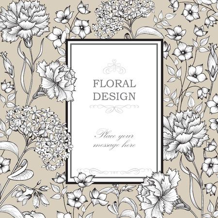 floral border: Floral background. Flower bouquet border. Floral vintage cover. Flourish card with copy space.
