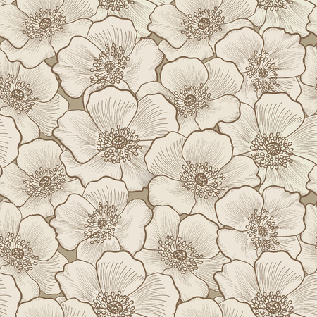 Floral seamless pattern. Flower silhouette background. Floral decorative seamless texture with flowers. 向量圖像