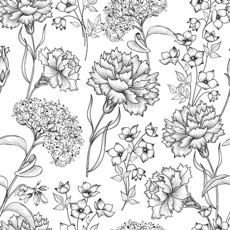 carnations: Floral seamless pattern. Abstract flower background. Floral seamless texture with flowers. Flourish spring texture.