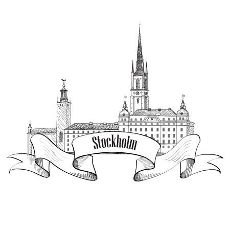 old town: Stockholm label isolated. Travel Sweden symbol. Stockholm Old Town architecture detailed skyline. Vector landmark building illustration.