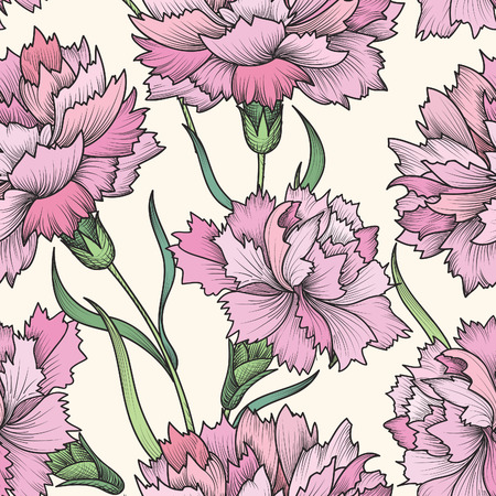 carnation: Floral seamless pattern. Flower background. Floral seamless texture with flowers.