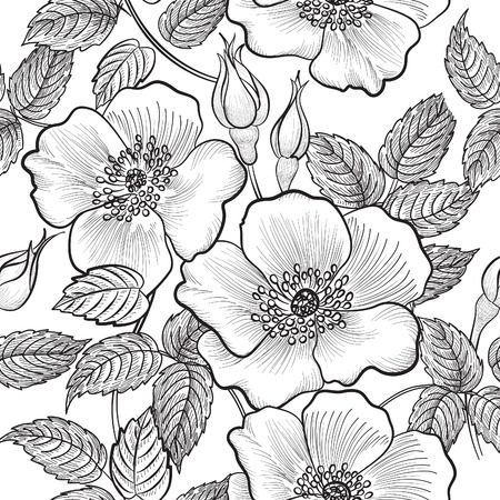 Floral seamless pattern. Flower silhouette black and white background. Floral decorative seamless texture with flowers. Vettoriali