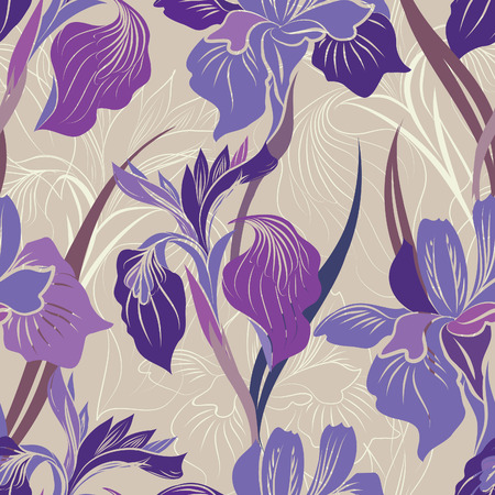 Floral seamless pattern. Flower iris background. Floral seamless texture with flowers. Фото со стока - 43149120