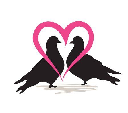 carta de amor: Palomas en amor. Icono de la boda. Carta de Amor Matrimonio. Vectores