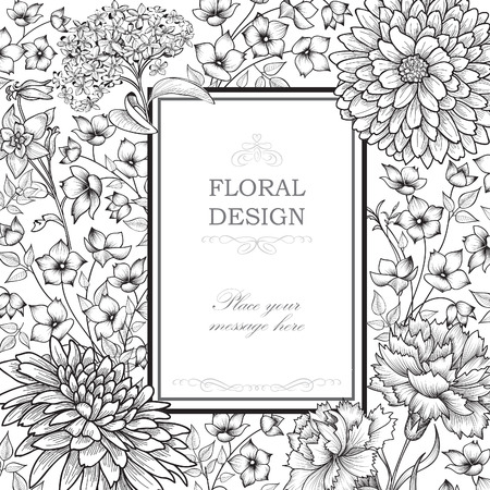 Floral background. Flower bouquet vintage cover. Flourish card with copy space. 矢量图像