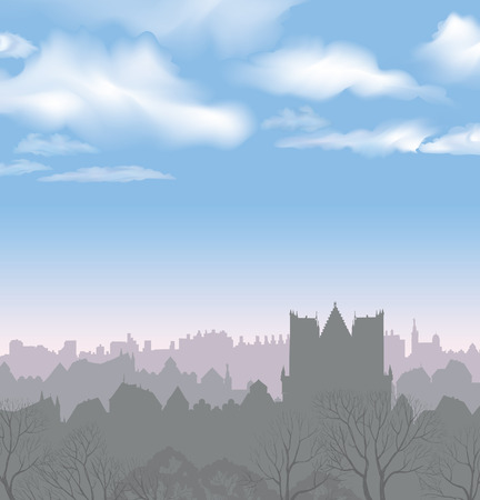 river scape: City skyline. Buildings silhouette cityscape. Old city street in arly morning. European downtown. Urban landscape with trees. Illustration