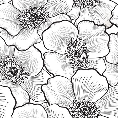 Floral seamless pattern. Flower silhouette black and white background. Floral decorative seamless texture with flowers. Illustration