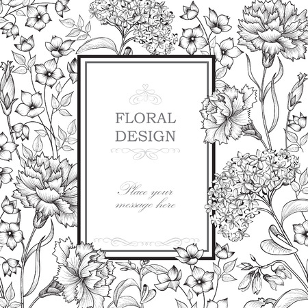 Floral background. Flower bouquet border. Floral vintage cover. Flourish card with copy space. 免版税图像 - 43149994