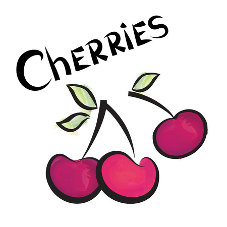 cherries isolated: Cherries isolated. Cherry fruit set. Hand drawn watercolor berry set. Vector illustration collection.