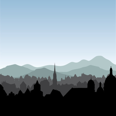 City skyline. Buildings silhouette cityscape. Old city street in arly morning. European landscape.  イラスト・ベクター素材